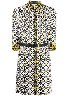 Versace belted print shirt dress