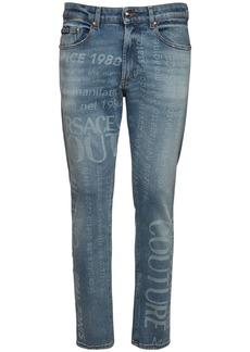 Versace 16cm Logo Print Cotton Denim Jeans