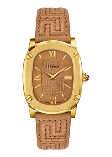 Versace 30mm Couture Oval Watch w/ Leather Strap