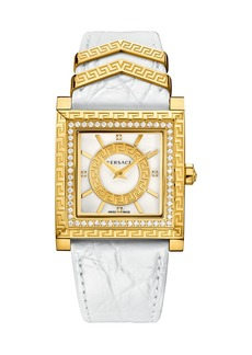 Versace 30mm DV-25 Square Watch w/ Diamonds & Leather Strap  White/Golden