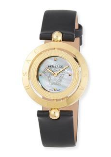 Versace 33mm Eon Reversible-Bezel Watch w/ Leather Strap