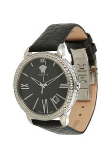 Versace 38mm Krios Date Watch w/ Leather Strap  Silver Steel/Black