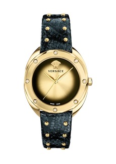 Versace 38mm Shadov Diamond Leather Watch  Black/Champagne