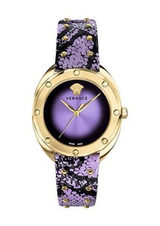 Versace 38mm Shadov Leather Watch  Gold/Purple
