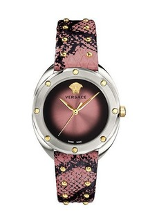 Versace 38mm Shadov Leather Watch  Steel/Pink