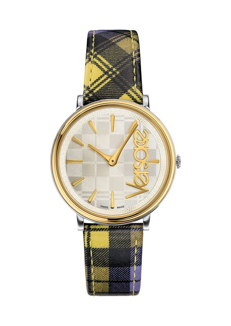 Versace 38mm Tartan Plaid Watch w/ Leather Strap  Gold