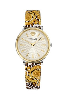 Versace 38mm V-Circle Tribute Leather Watch  Animal/Baroque