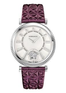 Versace 38mm V-Helix Clous de Paris Watch w/ Leather Strap  Silver/Violet