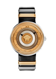 Versace 40mm V-Metal Icon Watch w/ Leather Strap