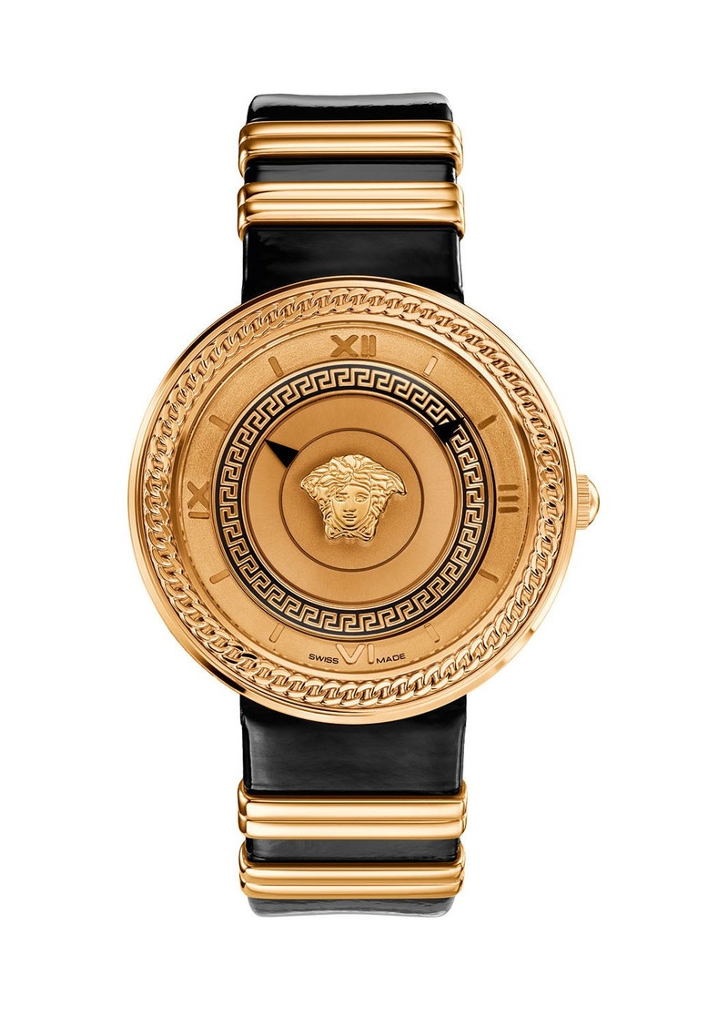 Versace 40mm V-Metal Icon Watch w/ Leather Strap  Gold