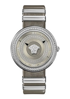 Versace 40mm V-Metal Icon Watch w/ Leather Strap  Steel