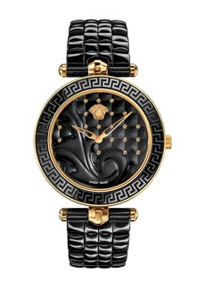 Versace 40mm Vanitas Ceramic Watch  Black/Rose