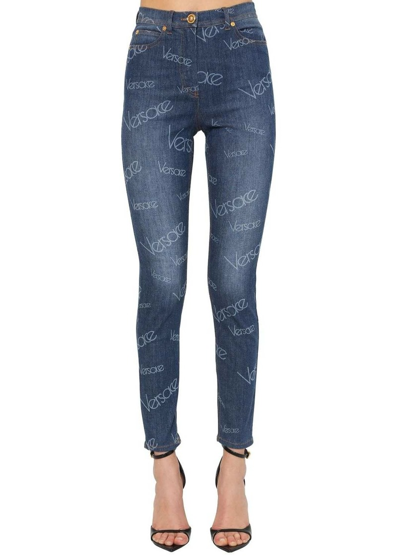 Versace 80s Logo Printed Cotton Denim Jeans