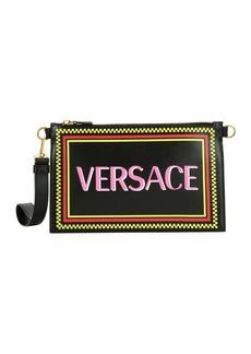 Versace 90s Logo Leather Wristlet Clutch Bag