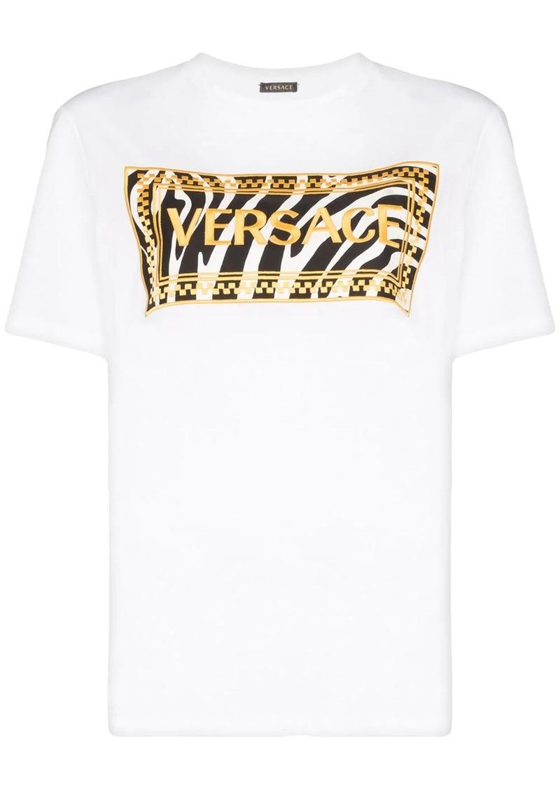 Versace 90's Vintage Logo zebra print T-shirt