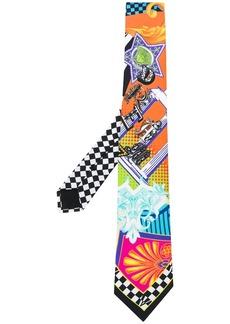 Versace abstract print silk tie