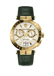 Versace Aion Chrono Goldplated & Leather Strap Watch