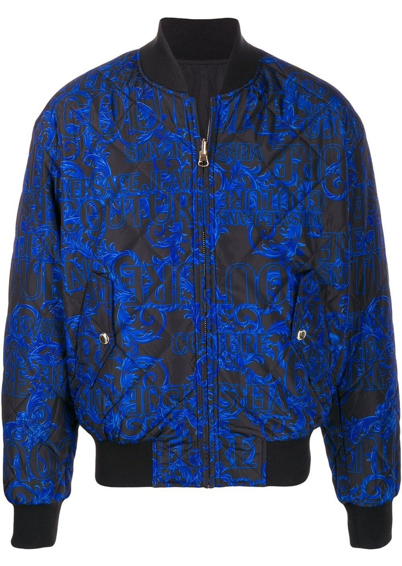 Versace all-over logo padded jacket