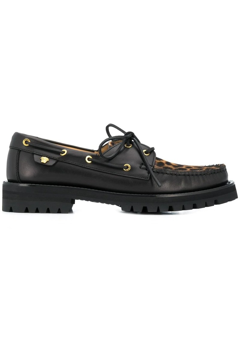 Versace Animalier motif boat shoes