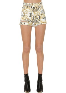 Versace Archive Print Destroyed Denim Shorts