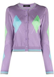 Versace argyle intarsia-knit silk cardigan