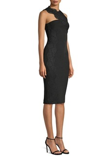 Versace Asymetrical Lace Panel Sheath