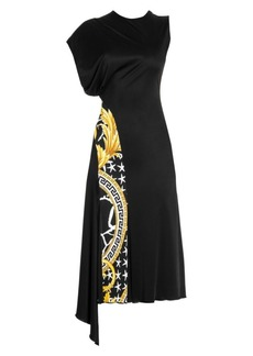 Versace Asymmetric Baroque Print Cap Sleeve Dress