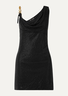 Versace Asymmetric Embellished Stretch-jersey Mini Dress