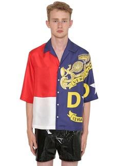 Versace Bandiera Printed Silk Bowling Shirt