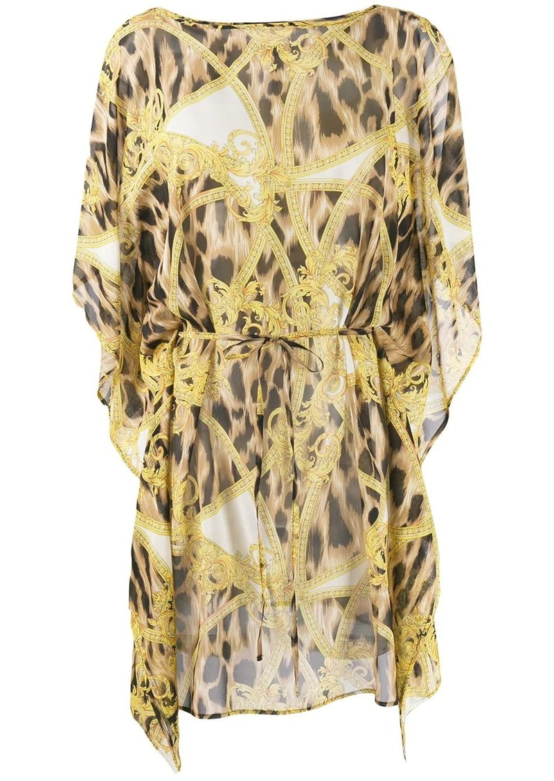 Versace Barocco Animalier print beach dress