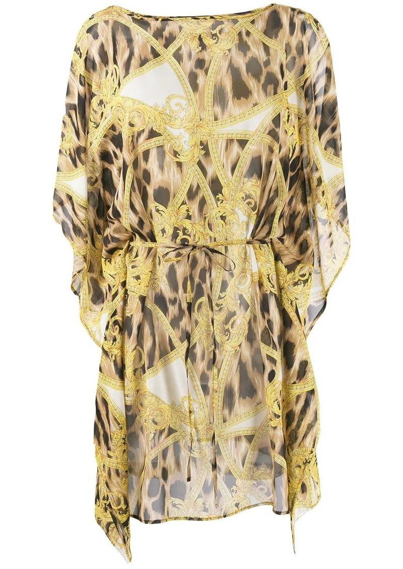 Versace Barocco Animalier print beach dress