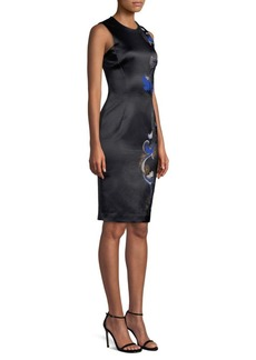 Versace Barocco Embroidery Sheath Dress