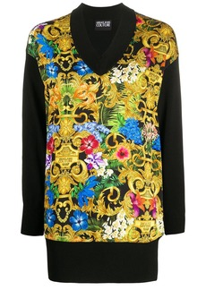 Versace Barocco flower print longline knitted top