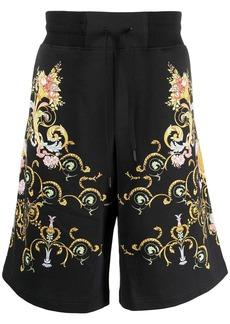 Versace Barocco-print high-rise flared shorts