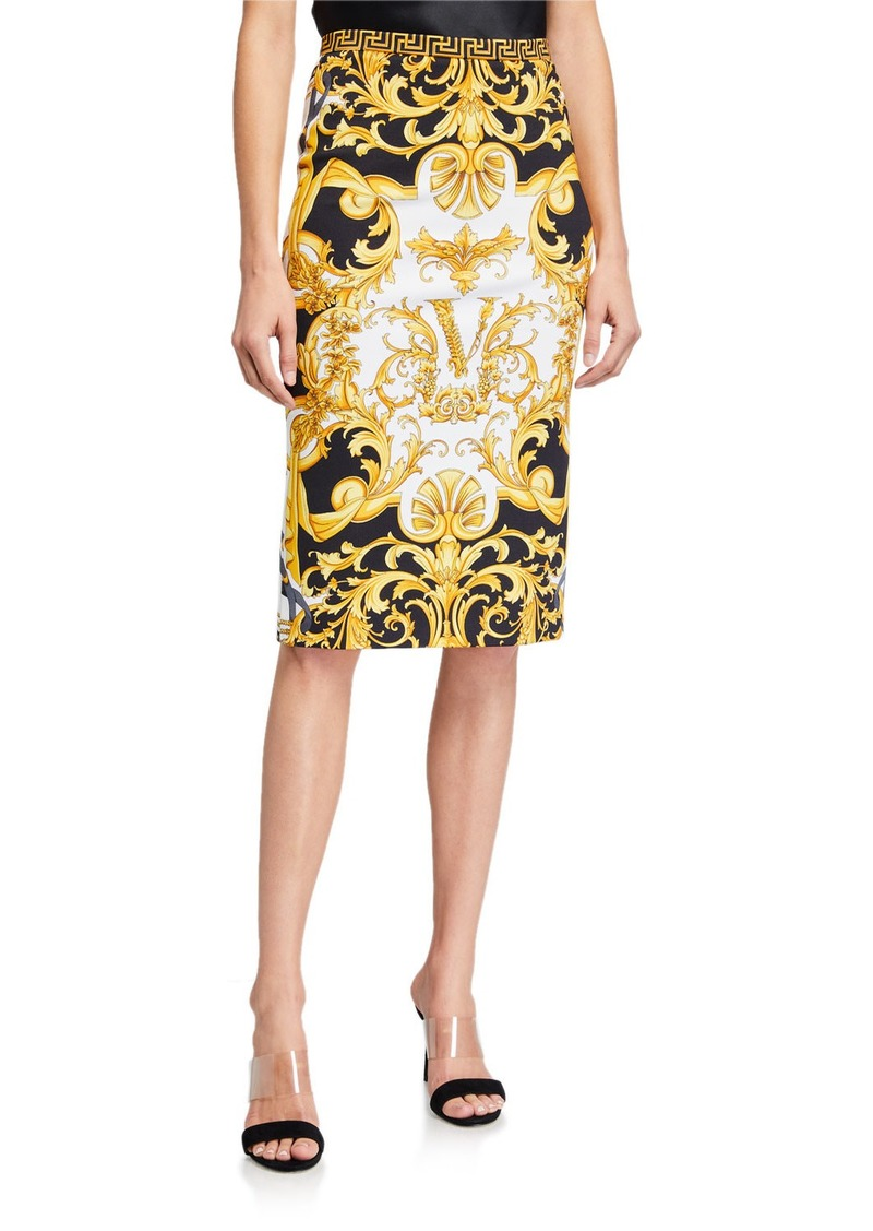 Versace Barocco-Print Knee-Length Skirt