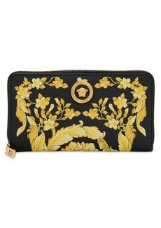 Versace Barocco Print Leather Zip Around Wallet