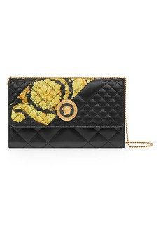 Versace Barocco Print Quilted Leather Chain Wallet