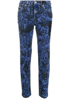 Versace Barocco print skinny jeans