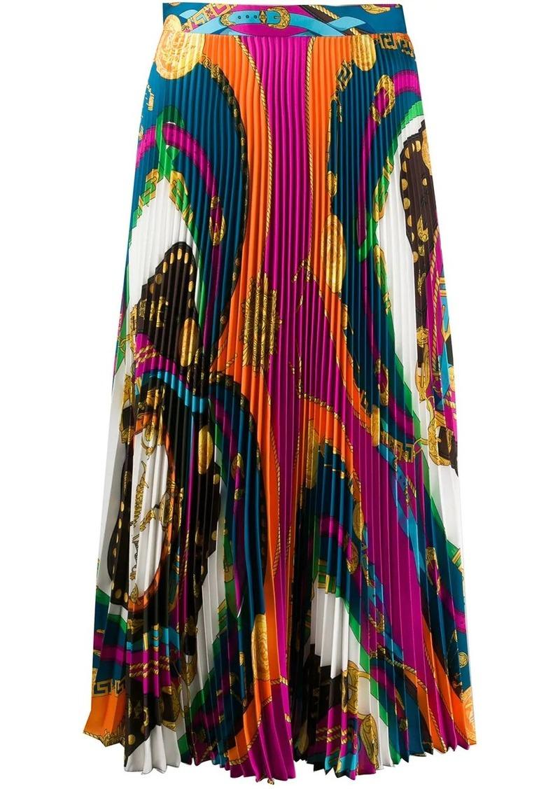 Versace Barocco Rodeo print pleated midi skirt
