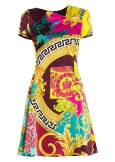 Versace Baroque Cap Sleeve Silk Dress