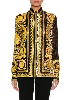 Versace Baroque Leopard-Print Button-Front Silk Twill Blouse
