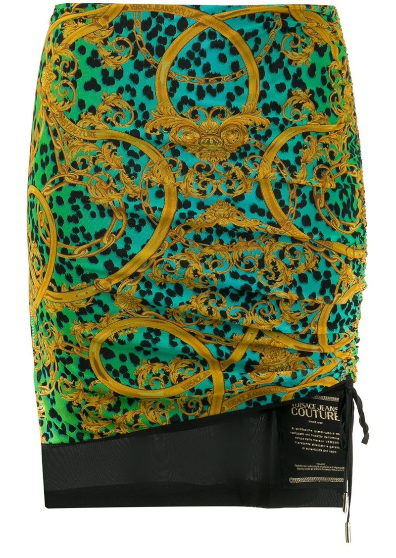 Versace baroque leopard print ruched skirt