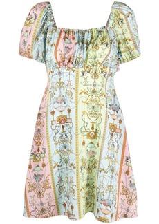 Versace baroque-pattern square-neck dress