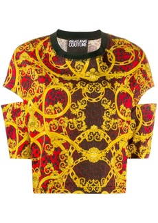 Versace baroque-print cut-out top