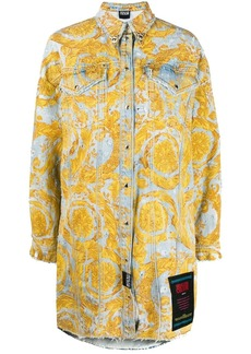 Versace Baroque-print denim shirt dress