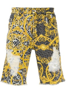 Versace baroque print denim shorts