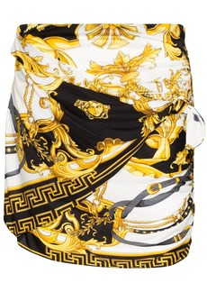 Versace baroque print gathered mini skirt
