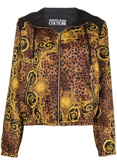 Versace baroque print hooded jacket
