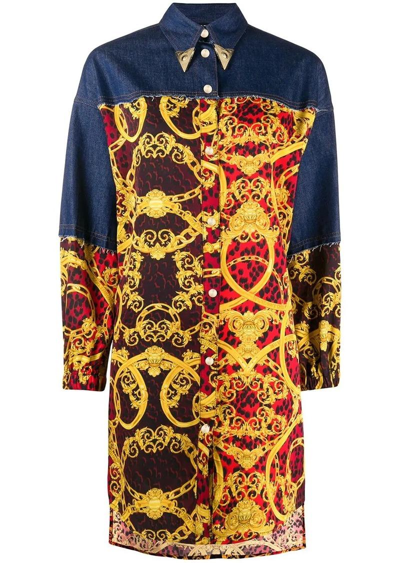 baroque print long shirt