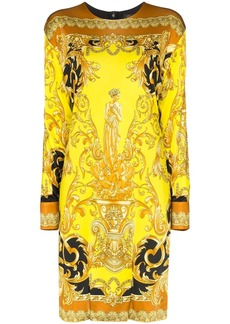 Versace baroque print long sleeve dress